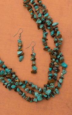 Silver Strike Turquoise & Brown Chip Stones Triple Strand Necklace and Earrings Jewelry Set