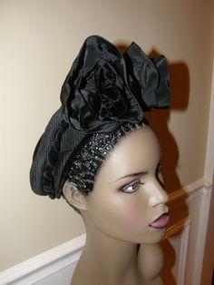 Rare 1930 Black Cocktail Hat Fascinator OOAK Demi by Nicholettes, $69.95-wow! vintagedooney.com