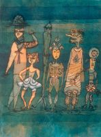 Paul Klee ~ Paul Klee: Masks on the meadow. In a period of artistic revolutions and innovations, few artists were as crucial as Paul Klee. His studies of color, widely taught at the Bauhaus, are unique among all the artists of his time. Abstract Expressionism, Abstract Art, Abstract Paintings, Oil Paintings, Landscape Paintings, Paul Klee Art, Art Abstrait, Wassily Kandinsky, Oeuvre D'art