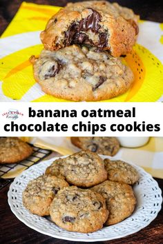This is the ultimate chocolate chip cookie. There are so many flavors rolled into this cookie. You have a chocolate chip cookie with banana and the texture of oatmeal. They're a tender and chewy cake-like cookie. Banana Oatmeal Chocolate Chip Cookies, Chocolate Cookies, All You Need Is, Cookie Desserts, Dessert Recipes, Pinch Recipe, Dessert For Dinner, Yummy Cookies, Donuts