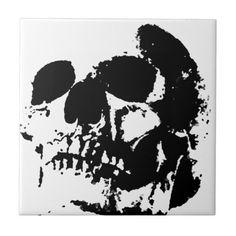 Shop Black & White Pop Art Skull Tile created by made_in_atlantis. Art Pop, Skull Carpet, Day Of The Dead, Office Gifts, Art Boards, White Ceramics, Fall Decor, Art Photography, Vibrant