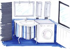 Proposta 3 a righe nei colori presenti in bagno pensili e cornice specchio argento