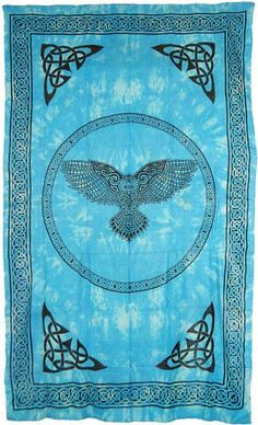 """Wicca Owl Tapestry ~ 72"""" x 108"""" ~ Turquoise"""
