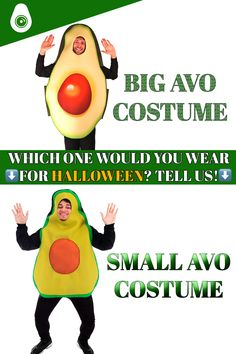 """Looking for a thing to put in your head? Check out these halloween avocado costumes then! Tell us which one you prefer! Is it the """"BIG"""" or the """"SMALL"""" one? You can find these two hats on our large range of avocado halloween costumes! Frankenstein, Avocado Costume, Which One Are You, A Funny, Halloween Costumes, Range, Big, Hats, Check"""