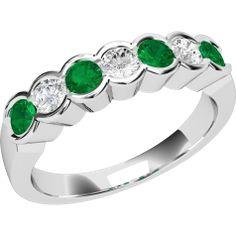 Inel cu Smarald si Diamant Dama Aur Alb 18kt cu 4 Smaralde Rotunde si 3 Diamante Rotund Briliant Toate in Setare Rub Over