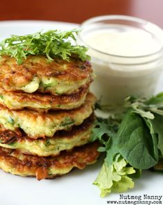 Summer Squash Pancakes with Creamy Goat Cheese Dressing by Nutmeg Nanny