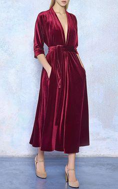 Three-Quarter Sleeve Velvet Midi Dress by Luisa   Moda Operandi