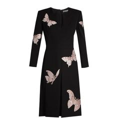 Alexander McQueen Moth-embroidered V-neck crepe dress (226.820 RUB) ❤ liked on Polyvore featuring dresses, black pink, butterfly pattern dress, moth dress, broderie dress, butterfly dress and embroidered dress