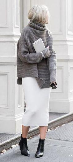 turtle neck knit. pencil midi skirt.