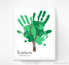 Hand Print Family Tree Art, Personalized Family Portrait, Custom Father's Day Gift, Baby Hand Print Wall Art, 11x14 Art Print