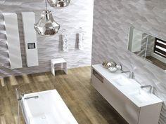 carrelage à motifs ondulant 3D dans la salle de bains contemporaine par Porcelanosa