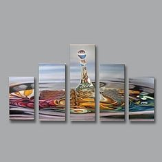 Oil Painting Modern Abstract with Stretched Frame Set of 5 Hand-Painted Canvas - USD $ 152.99