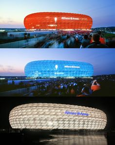 Alliance Arena, Munich, Germany. Designed by Jacques Herzog and Pierre de Mueron. It is a football Stadium.