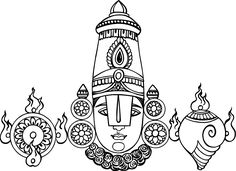 Tamil Cliparts: Venkatachalapathi Line Drawings for invitations Kalamkari Painting, Tanjore Painting, Mandala Art Lesson, Mandala Drawing, Tattoo Coloring Book, Mandala Coloring, Girl Drawing Images, Apple Clip Art, Lotus Art