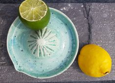 Handmade by Julia at Lemon, Pottery, Turquoise, Fruit, Handmade, Ceramica, Hand Made, Pottery Marks, The Fruit
