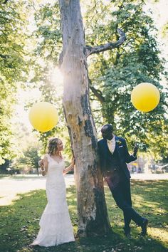 It Must Be Love // wedding // bride and groom // yellow balloons