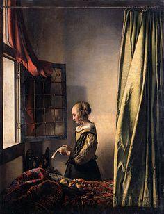 Johannes Vermeer, Donna che legge una lettera davanti alla finestra, olio su tela, 1657 (Dresda, Gemaldegalerie Alte Meister)