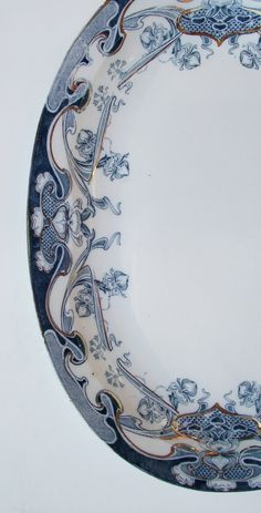 Vintage Teal Blue English Transferware Platter by PansyRoadVintage