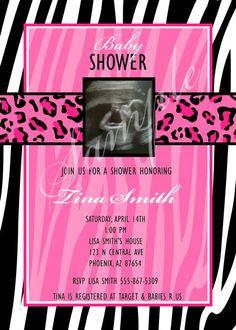 Zebra Cheetah Baby Shower Invitation