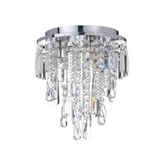 A Flush Fit Decorative Bathroom Chandelier In Polished Chrome Adorned With Lavish Crystal Droplets The Light Is Ip44 Rated For Safe Use Zones 1