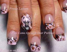 Pink Camo tips with Deer Portrait - Nail Art Gallery camo nails prom homecoming wedding Pink Camo Nails, Camo Nail Art, Camouflage Nails, Fingernail Designs, Nail Art Designs, Camo Nail Designs, Love Nails, Fun Nails, Hunting Nails