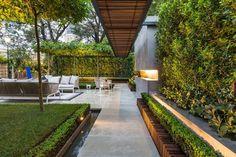 aménagement extérieur avec une allée de jardin et cheminée encastrée