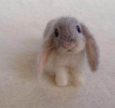 Needle Felted Lop Eared Baby Bunny Rabbit, Grey Angora, Luxury Pet
