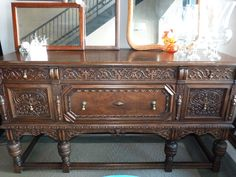 Carved Walnut Sideboard $1100 - Chicago http://furnishly.com/catalog/product/view/id/3725/s/carved-walnut-sideboard/