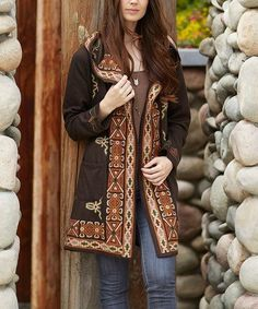 Look what I found on #zulily! Brown Embroidered Hooded Open Cardigan #zulilyfinds