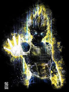 Dragon Ball Z Anime Super Saiyan Vegeta Digital Art museum quality giclée fine art print