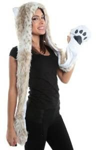 Snow Leopard Animal Hood Hoodie Hat with Paws Mittens Gloves New