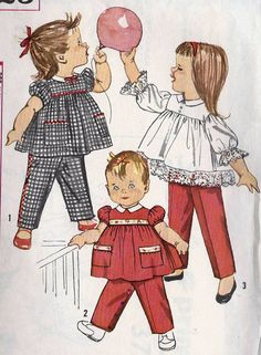 1960s Toddler girls Top and Pants in 2 Lenghts Vintage Sewing Pattern, Simplicity 3725 Size 1. $6,00, via Etsy.
