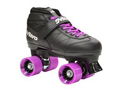 Speed Roller Skates - New Epic Super Nitro Black  Purple Indoor  Outdoor Quad Roller Speed Skates w 2 Pair of Laces Purple  Black -- Details can be found by clicking on the image.