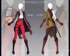[OPEN-Auction] Adoptable outfits by Eggperon on DeviantArt Clothing Sketches, Dress Sketches, Anime Outfits, Cool Outfits, Fashion Design Drawings, Drawing Clothes, Character Outfits, Character Design Inspiration, Designs To Draw