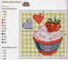 Free Cross Stitch Charts, Counted Cross Stitch Patterns, Cross Stitch Designs, Cross Stitch Embroidery, Cupcake Cross Stitch, Stitch Cartoon, Cross Stitch Kitchen, Pattern Books, Plastic Canvas