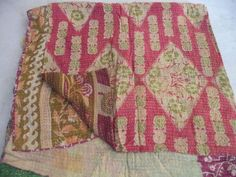 QUEEN SIZE Kantha Quilt,Exclusive reversible Kantha Cotton Blanket Bed Spread #Handmade