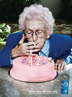 Smoking causes premature aging that last is only 42 don't end like her be free and smoke free