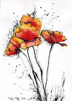 Red poppy art print, select size, canvas sheet, watercolor flowers- Roter Mohn Kunstdruck, 8 x 8 x [. Poppy Flower Painting, Flower Art, Simple Flower Painting, Art Flowers, Art Floral, Watercolor And Ink, Watercolor Flowers, Watercolor Flower Tattoos, Drawing Flowers