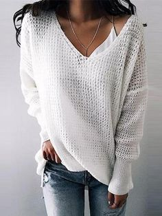 Chicnico Street Fashion Knit V Neck Solid Color Loose Sweater Summer Sweaters, Loose Knit Sweaters, Casual Sweaters, Pullover Sweaters, Casual Shirts, V Neck Sweaters, Sweater Cardigan, Women's Casual, Cardigans