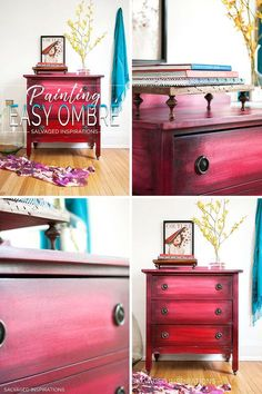 Boho Style Ombre Easy Painting - Salvaged Inspirations Furniture painted annie sloan Boho Ombre Paint Effect Funky Furniture, Refurbished Furniture, Paint Furniture, Repurposed Furniture, Furniture Projects, Furniture Makeover, Furniture Design, Furniture Plans, Bohemian Furniture