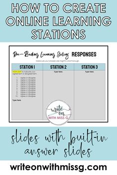 How to Structure Learning Stations Online - Write on With Miss G Teaching Strategies, Learning Resources, Teacher Resources, Teacher Tools, Learning Apps, Teaching Aids, Learning Quotes, Mobile Learning, Teacher Organization