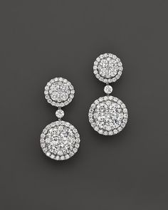 6e76aa7be Diamond Cluster Circle Drop Earrings in 14K White gold, 2.0 ct. t.w. |  Bloomingdale's