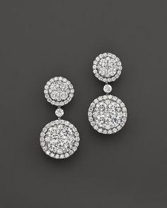 Diamond Cluster Circle Drop Earrings in White gold, ct. Diamond Earrings Tiffany, Diamond Earing, Diamond Studs, Diamond Jewelry, Bling Bling, Fine Jewelry, Women Jewelry, Fancy Jewellery, Pilgrim Jewellery