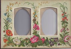 Lovely Chromolithograph Page from Victorian Photo Album, CDVs