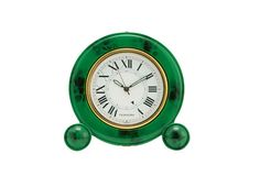 With its graphic Roman numerals, a mottled jade finish, and gorgeously refined design, this soigné travel alarm clock is the cultivated antidote to shrill cell-phone wake-ups.$295