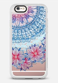 Red & Blue Floral on Transparent iPhone 6s Plus case by Micklyn Le Feuvre | Casetify
