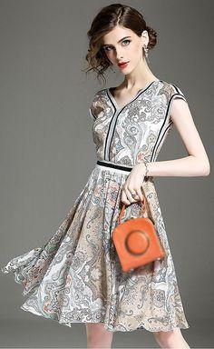 Fashion V-Neck Short Sleeve Floral Print Slim A-Line Dress