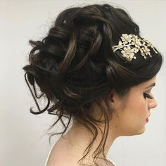 A unique way to wear a hair comb or clip.