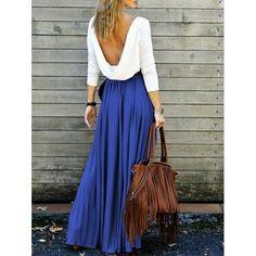 Alluring Long Sleeve Maxi Draped Open Back Dress | TwinkleDeals.com