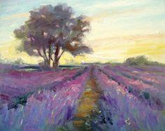 """Lavender Farm is an original oil painting, 8""Hx10""W"
